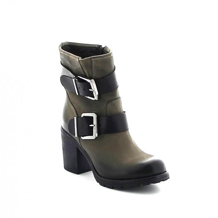 Boots en cuir double sangles