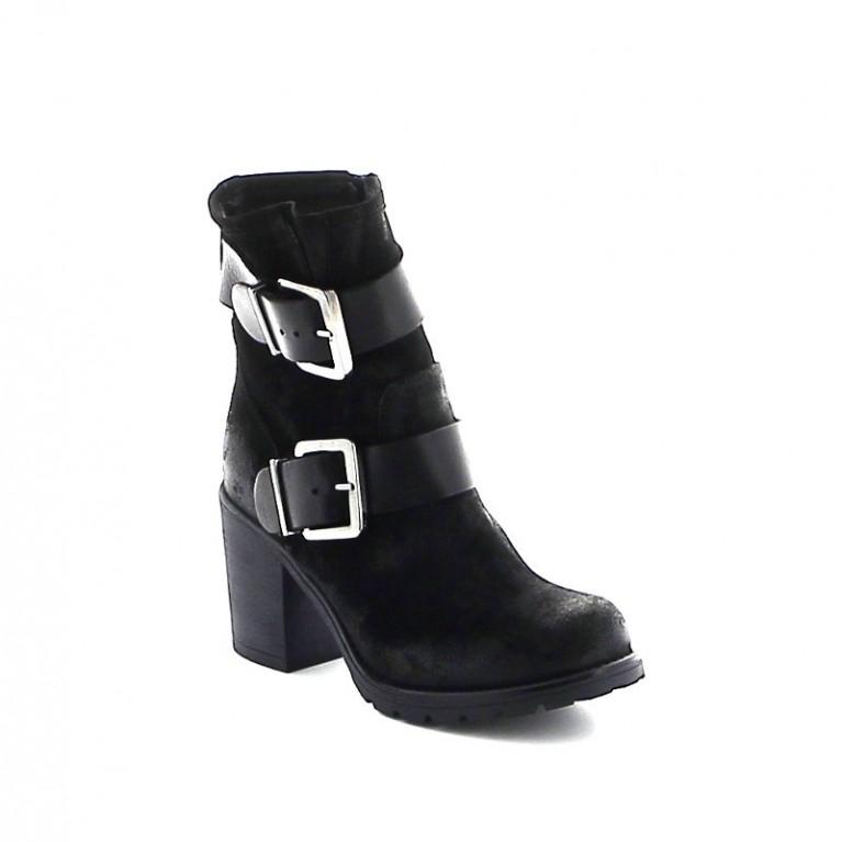 Boots en daim double sangles