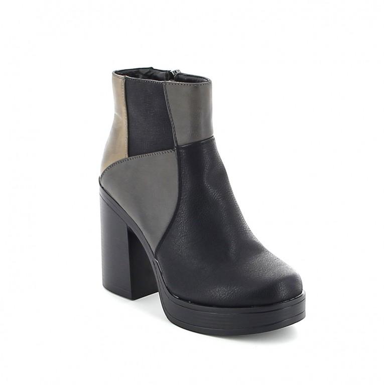 """Boots """"patchwork"""" à talon rétro"""