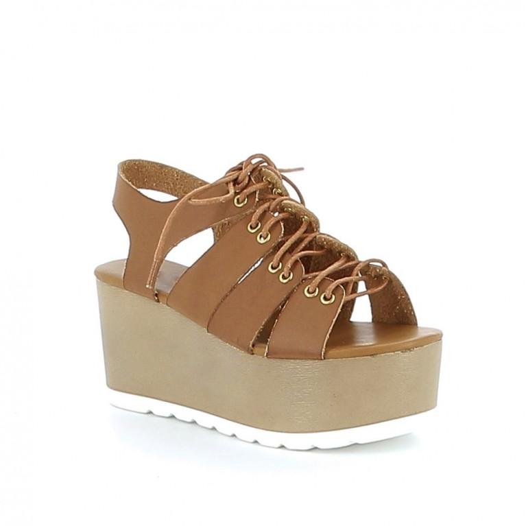 Sandale à plateau avec laçage
