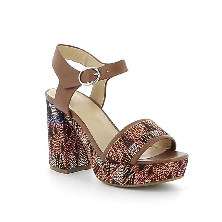 Sandale à talon à motifs aztèques