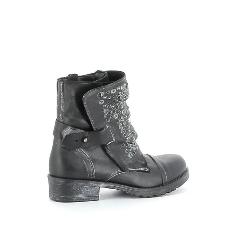 Boots cuir à lacets avec sangle amovible
