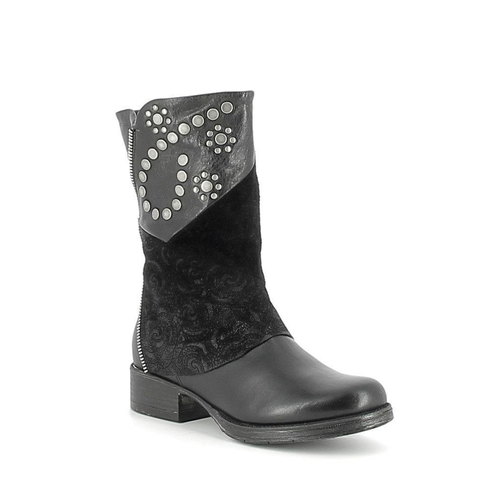 Mi-Boots en cuir et nubuck avec clous
