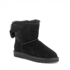 Boots fourrées avec noeud en laine