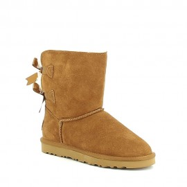 Mi-boots fourrées avec noeuds